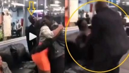 Wahala!! Jealous Husband Beats A Younger Man For Over Hugging His Curvaceous Spouse