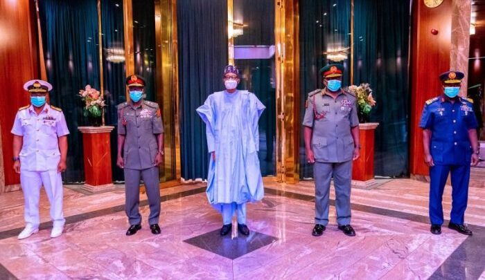 President Muhammadu Buhari is presently in a gathering with the nation's safety chiefs forward of his journey to the UK for a routine medical check-up. Vice President, Yemi Osinbajo, Secretary to the Authorities of the Federation (SGF), Boss Mustapha; Protection Minister, Main-Common Bashir Magashi (Rtd); and the Chief of Workers to the President, Professor Ibrahim Gambari and the Nationwide Safety Adviser, Main-Common Babagana Monguno (Rtd), are all in attendance.
